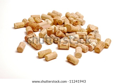 Corks on white background