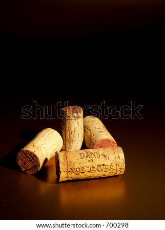 corks with inscription, Dans nos caves - in our cellars - stock photo