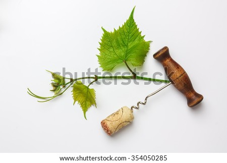 corkscrew and cork from a bottle of wine - stock photo