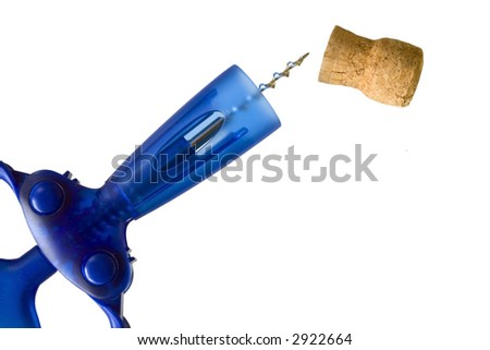 Corkscrew and Cork, isolated on white background - stock photo