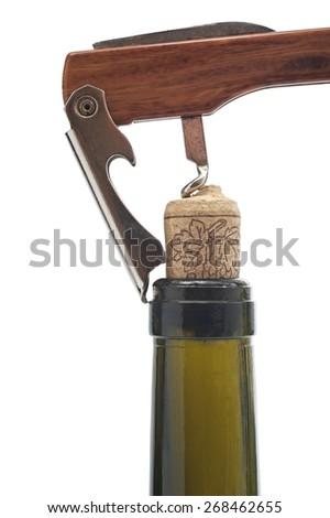 corkscrew bottle is opened - stock photo