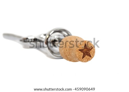 Corkscrew for wine and cork isolated on a white background