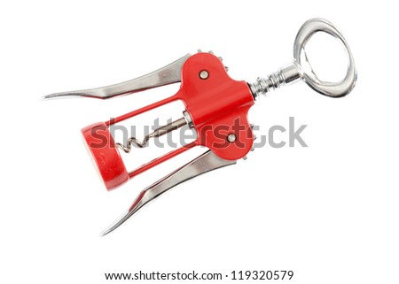 Corkscrew in front of white background - stock photo