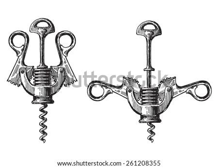 corkscrew on a white background. illustration, sketch - stock photo