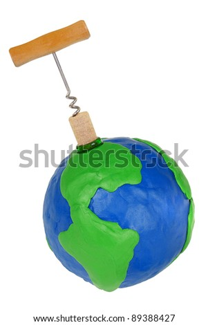 Corkscrew, wine stopper and plasticine globe on white background - stock photo