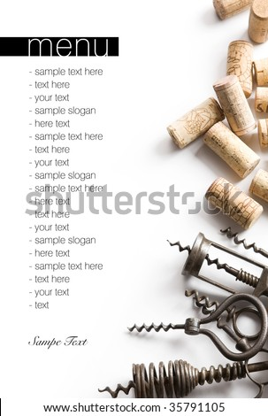 Corkscrews and corks. Project of a wine menu. - stock photo
