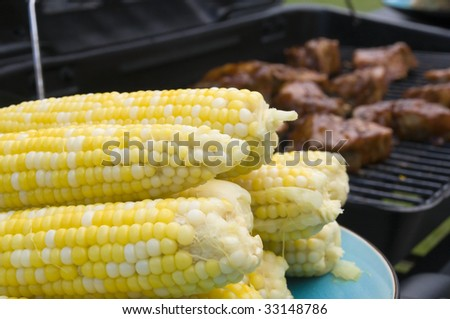 Corn and Ribs on the 4th of July - stock photo