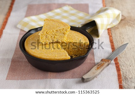 corn Bread in a cast iron skillet - stock photo