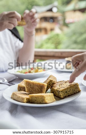 corn bread on table - stock photo