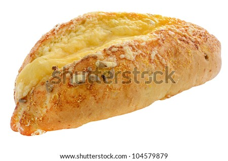 Corn bread with pumpkin seeds and cheese isolated on white background - stock photo