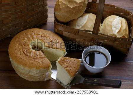 corn cake with black coffe and italian bread - stock photo