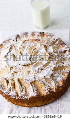 Corn cake with ricotta and apple pieces on top