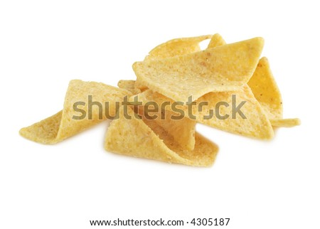 Corn chips with a sprinkling of sea salt on a white background with a soft shadow at bottom edge.