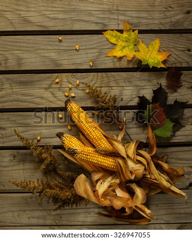 Corn cob on the table like background - stock photo