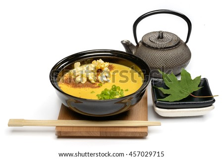 Corn Cream Soup arranged in Japanese style - stock photo