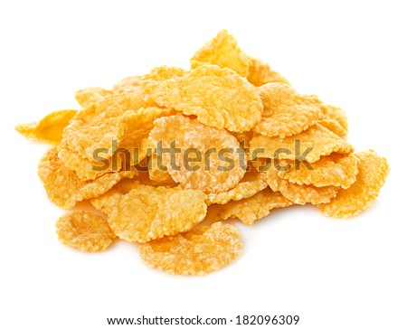 corn flake cereal in a pile isolated against a white background - stock photo