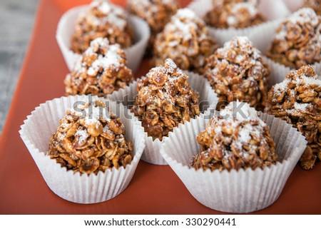 Corn Flake Dessert With Caramel - stock photo