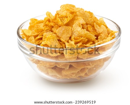 corn flakes in a glass bowl isolated on white - stock photo