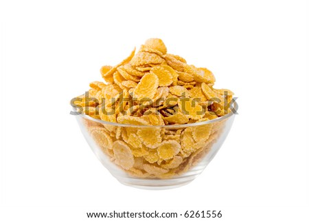 Corn-flakes in a transparent bowl - stock photo
