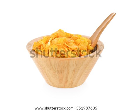 Corn flakes on a white background