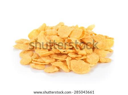 Corn flakes  on white background - stock photo