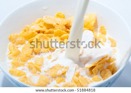 Corn flakes with milk - stock photo