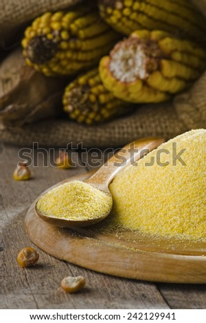 Corn flour on a rustic background - stock photo