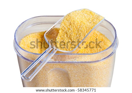 Corn grits isolated on a white background. - stock photo