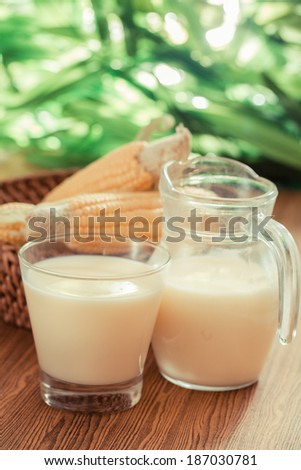 Corn milk and corn green leaves-Filtered Image