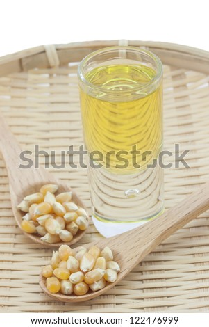 Corn oil on a bamboo tray