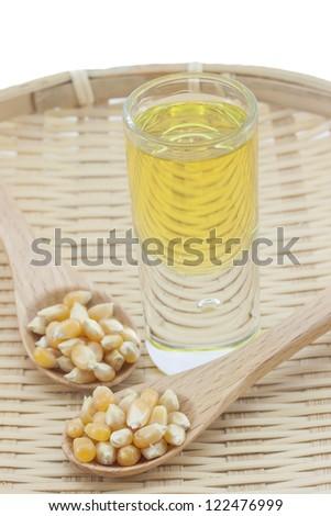 Corn oil on a bamboo tray - stock photo