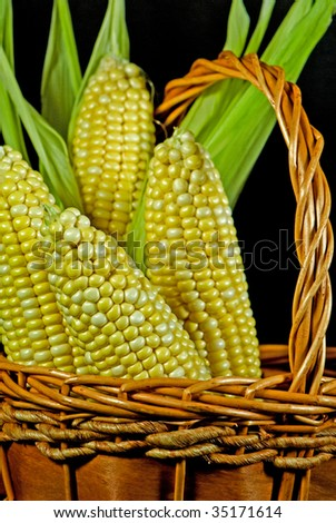 corn on the cob in basket - stock photo