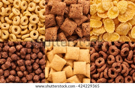 Corn pads, rings, balls and cornflakes. Cereals breakfast collection.