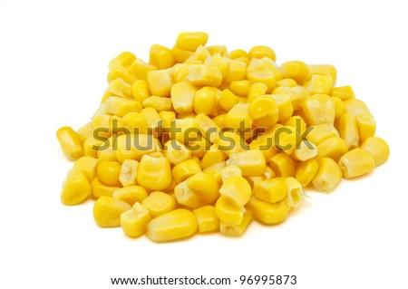 Corn pile on white background - stock photo