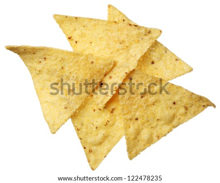 Corn tortilla chip isolated on white background