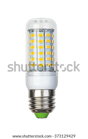 Corn type Led lightbulb with e27 (ES) base isolated on white background - stock photo