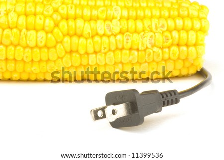 corn with a power plug ready to make fuel