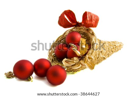 Cornacopia filled with christmas items in a trendy way - stock photo