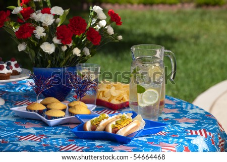 Cornbread and hot dogs on 4th of July in patriotic theme - stock photo