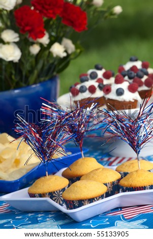 Cornbread and muffins on 4th of July in patriotic theme - stock photo