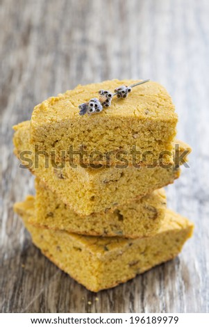 cornbread with lavender, selective focus, vertical - stock photo