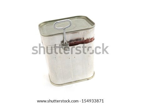 Corned Beef in Tin over white background