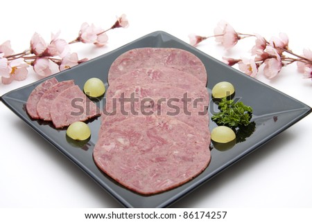 Corned beef with grapes - stock photo