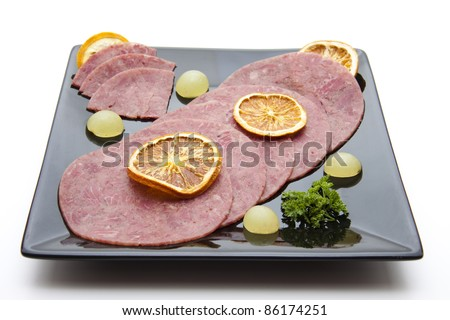 Corned beef with lemon - stock photo