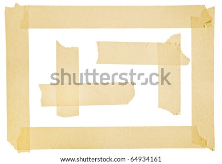 Corner and border from masking tape - stock photo