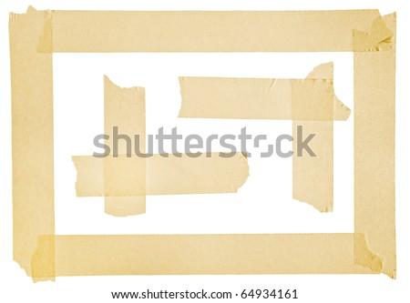 Corner and border from masking tape - stock photo