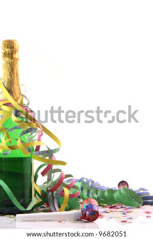 corner border for party champagne with copy space and paper confetti streamers and party blowers isolated on white background - stock photo