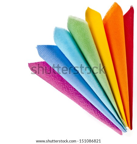 Corner border of Serving colored paper napkins isolated on white background  - stock photo