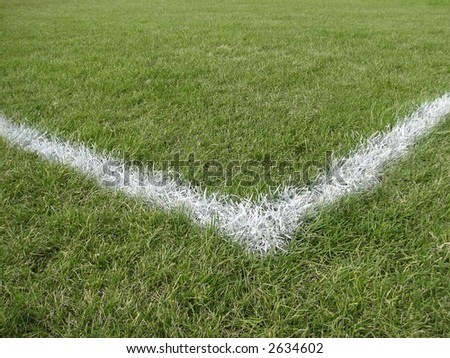 Corner boundary line of a playing field - stock photo