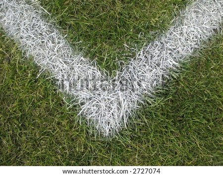 Corner boundary line of a playing field (football, soccer, baseball, rugby, cricket etc.) - stock photo